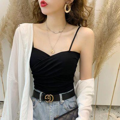 12015/吊带打底背心女夏美背外穿抹胸短款辣妹白色内搭性感心机上衣