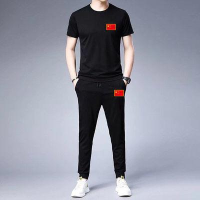立领休闲男装2020夏季新品男士运动服短袖跑步学院套装大码两件套