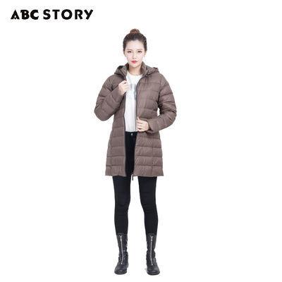 ABC STORY女士秋冬新款羽绒服中长款保暖轻薄外套不钻绒90%绒A10