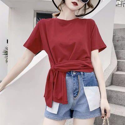 夏季棉质交叉打结设计感圆领短袖T恤女宽松上衣不规则体恤枣红色