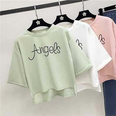 女装短袖女2018新款夏装纯色T恤七分袖上衣宽松韩版学生半袖衣服