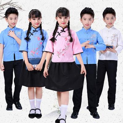 2020新款儿童民国服装学生装五四青年装男女棉中山装民国风演出服
