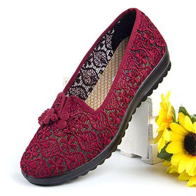 老人凉鞋女平底奶奶老北京布鞋女时尚款夏季软底网面休闲中老年鞋