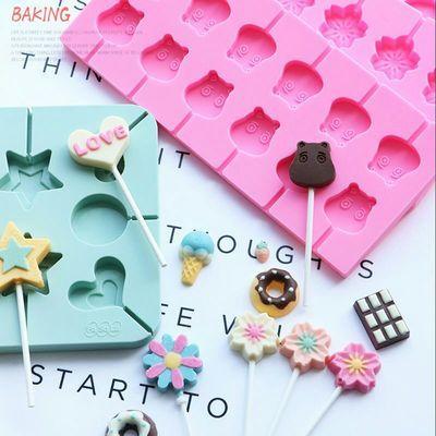 自制棒棒糖模具自制雪糕巧克力果冻布丁橡皮糖模具卡通硅胶模具