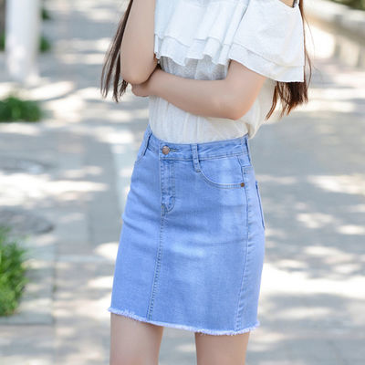 高腰紧身弹力牛仔半身裙子女韩版学生显瘦包臀裙夏季新款短裙开叉