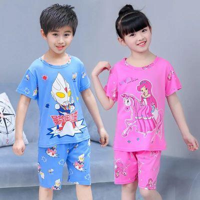 儿童睡衣短袖男女童服居服小孩子夏季薄款秋天宝宝中大童卡通套装
