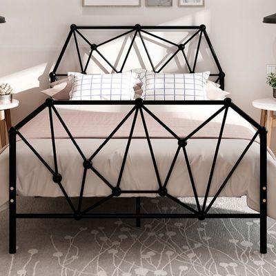 现代简约成人儿童铁艺床单人宿舍网红铁架子床1.2米1.8米双人铁床