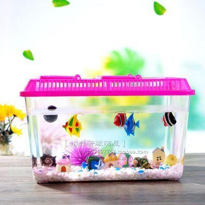 大号透明手提宠物饲养盒 塑料金鱼缸饲养养乌龟缸盒 封闭式盒