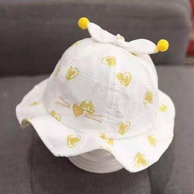 女宝宝帽子春夏薄款婴儿帽可爱公主防风遮阳帽0-6-12个月新生儿帽
