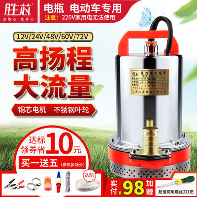 农用直流潜水泵12V24V48V60V72V浇地船用直流泵电瓶电动车抽水机