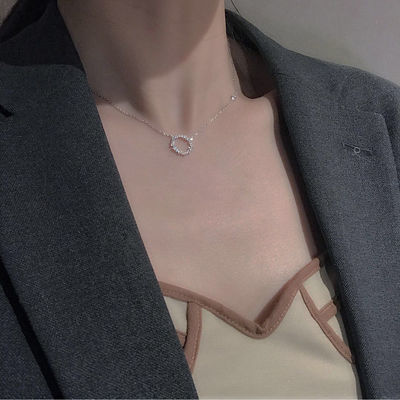 微镶锆石几何小圆圈简约精致迷你项链同款韩国剧锁骨链女生日礼物