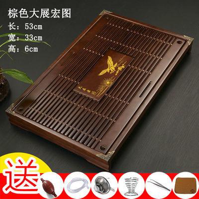 实木茶盘家用简约茶海托盘功夫茶具套装抽屉式排储水迷你小茶台竹