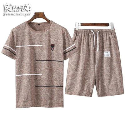 套装/T恤夏季休闲套装男士短袖短裤套装青年运动服套装爸爸衣服男