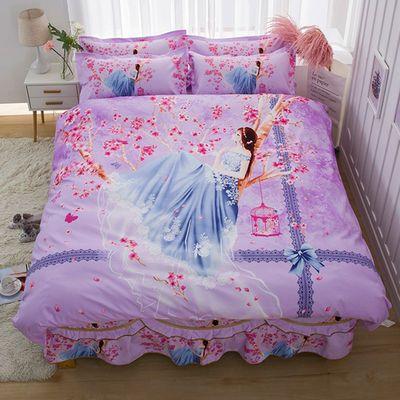 新品床裙床罩公主风床裙四件套纯棉床裙三件套1.5米1.8米2米荷叶
