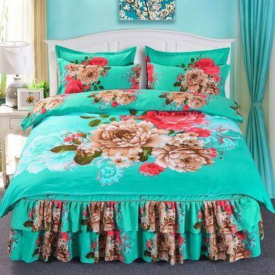 加厚磨毛床裙四件套像纯棉全棉婚庆床上用品韩版双人被套床罩被罩