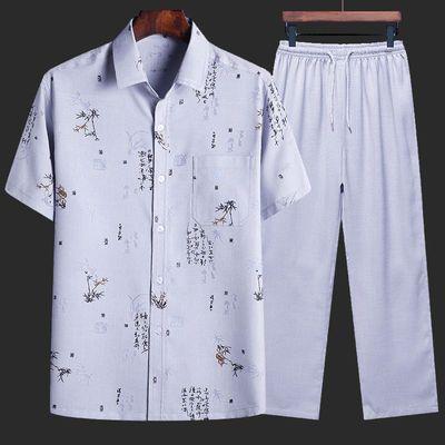 上衣/套装 棉麻短袖衬衫男士夏季中老年爸爸夏装爷爷老人宽松衬衣