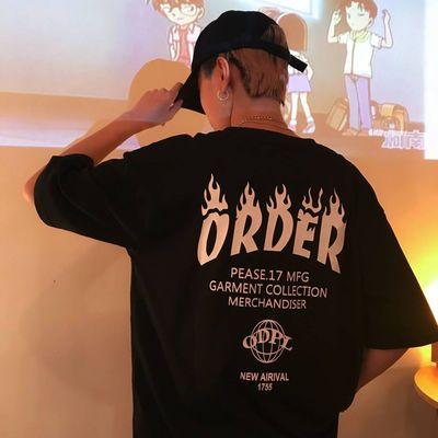 分割勒是雾都 韩国INS同款复古风火焰字母印花短袖T恤 18ss男女款