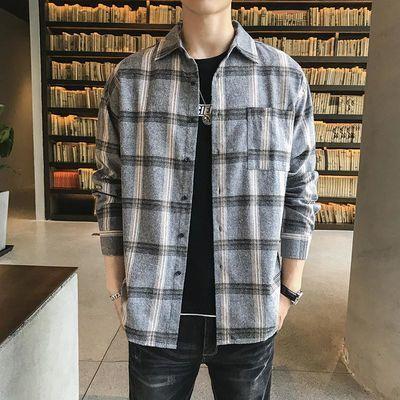 春季新款韩版长袖格子衬衫男宽松休闲港风青年帅百搭翻领衬衣外套
