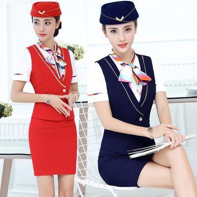 空姐制服春夏装职业衬衫马甲套装女珠宝酒店前台美容师工作服短袖