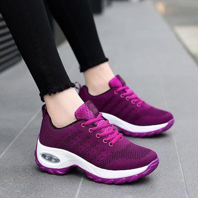 安全中老年透气跑步妈妈鞋波鞋内增高气垫运动鞋防滑软底健步鞋女