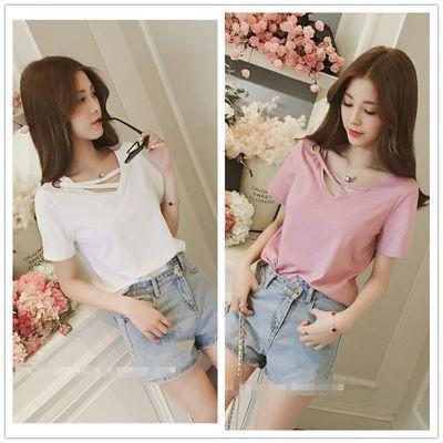 2020新款夏装v领套头短袖T恤女装学生韩版体恤衫纯白色半截袖上衣