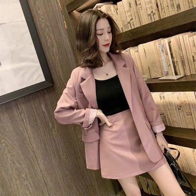78993/2021春秋新款小香风西服套装裙女韩版洋气网红名媛气质短裙两件套