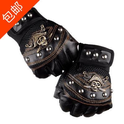 海盗骷髅头半指手套男演出街舞霹雳跳舞运动骑行手套新款铆钉手套