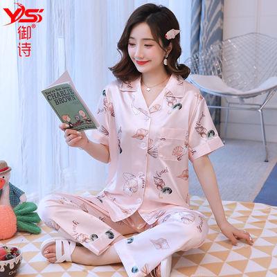 睡衣女夏新款冰丝短袖韩版可爱甜美可外穿开衫套装丝绸春秋家居服