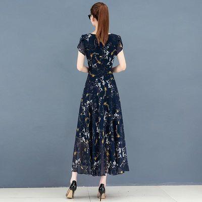 2020夏季新款碎花长裙大码女装遮肉显瘦胖mm印花雪纺连衣裙减龄