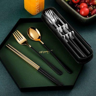 304不锈钢便携筷子勺子套装餐具三件套成人学生叉子筷勺开学餐具
