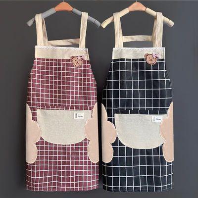 厨房家用围裙防水防油女时尚日系做饭棉麻工作服定制logo印字围腰