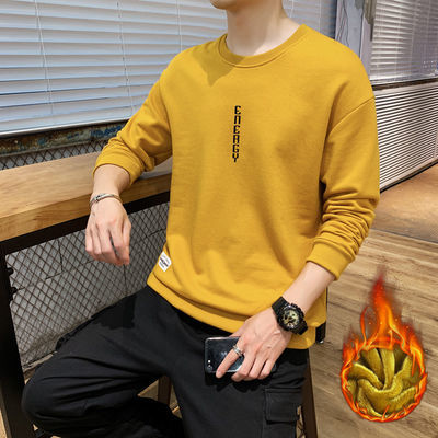 新款热销春秋季新款印花加绒卫衣男港风长袖t恤男学生宽松版圆领