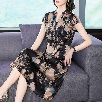 真丝连衣裙女2020夏季新款连衣裙中老年大码印花桑蚕丝中长款裙子