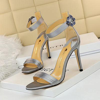 9926-1欧美风性感高跟鞋女鞋细跟超高跟绸缎露趾一字带水钻扣凉鞋