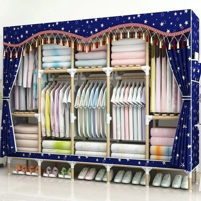 简易衣柜实木布衣柜收纳架组装衣橱单双人大号加厚无纺布折叠柜子