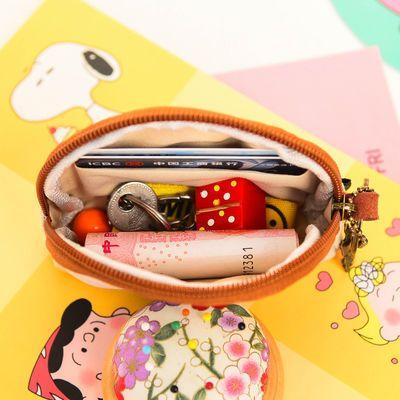 原创日系棉麻帆布拉链零钱包女学生可爱卡通迷你硬币包钥匙包便携
