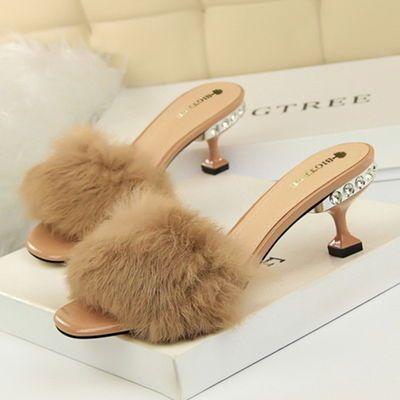 韩版女鞋夏季时尚优雅半拖鞋女水钻细跟高跟毛毛鞋兔毛一字带拖鞋