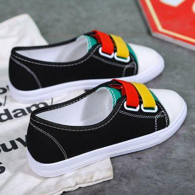 帆布鞋女鞋子学生韩版百搭原宿夏季小白鞋平底板鞋透气单鞋一脚蹬