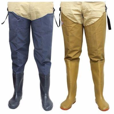 半身过膝下水裤加厚超高筒雨靴防水防滑插秧靴扑鱼涉水钓鱼抓鱼裤