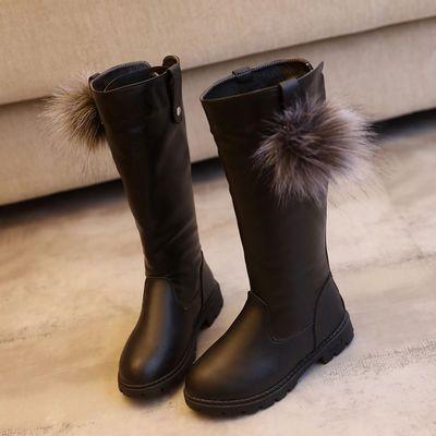 热销加绒3-12岁女童长筒靴子鞋秋冬中大童加绒雪地靴高筒儿童马丁