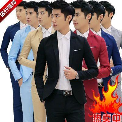 秋季休闲西装男士小西服外套商务正装韩版潮流修身一套装帅气上衣