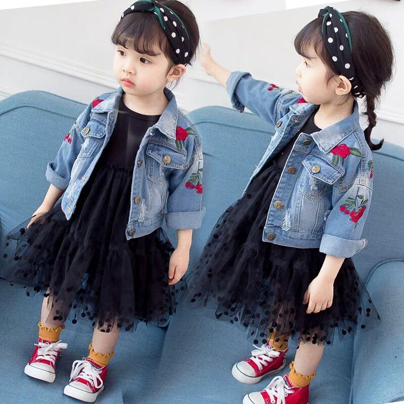 女宝宝牛仔外套春秋款裙子童装时尚女童1-6岁洋气小童春装百搭