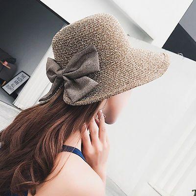 帽子女韩版时尚沙滩太阳帽子可折叠渔夫盆帽夏天防晒遮阳草帽女士