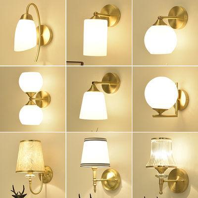 全铜壁灯现代简约led创意水晶玻璃墙壁灯客厅卧室床头走廊过道灯