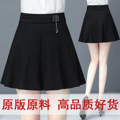 女款百褶裙半身裙a字裙2020春天新款黑色裙子女短裙弹力腰休闲裙