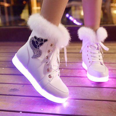 热销春秋新款儿童发光鞋usb充电七彩夜光亮灯鞋女童带灯鞋男童鬼