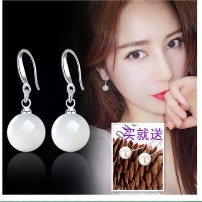 纯银耳扣韩国简约银饰品S925银耳环超闪水晶锆石小耳圈耳坠防过敏