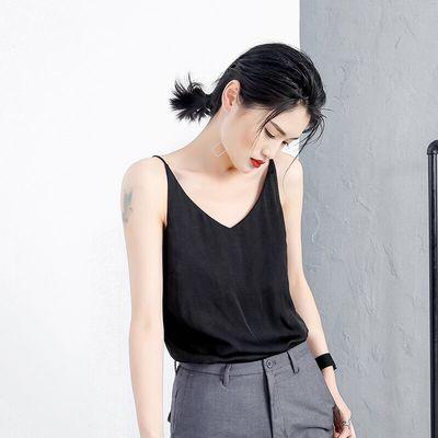 夏季新款韩版女装内搭外穿V领时尚百搭真丝吊带背心女上衣小衫潮