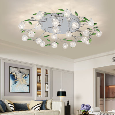 客厅灯简约现代卧室灯温馨浪漫餐厅灯具创意绿色水晶铁艺吸顶灯
