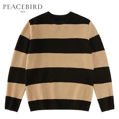 【商场同款】太平鸟男装 粗条纹精致植绒刺绣宽松毛衣潮B1EB94331